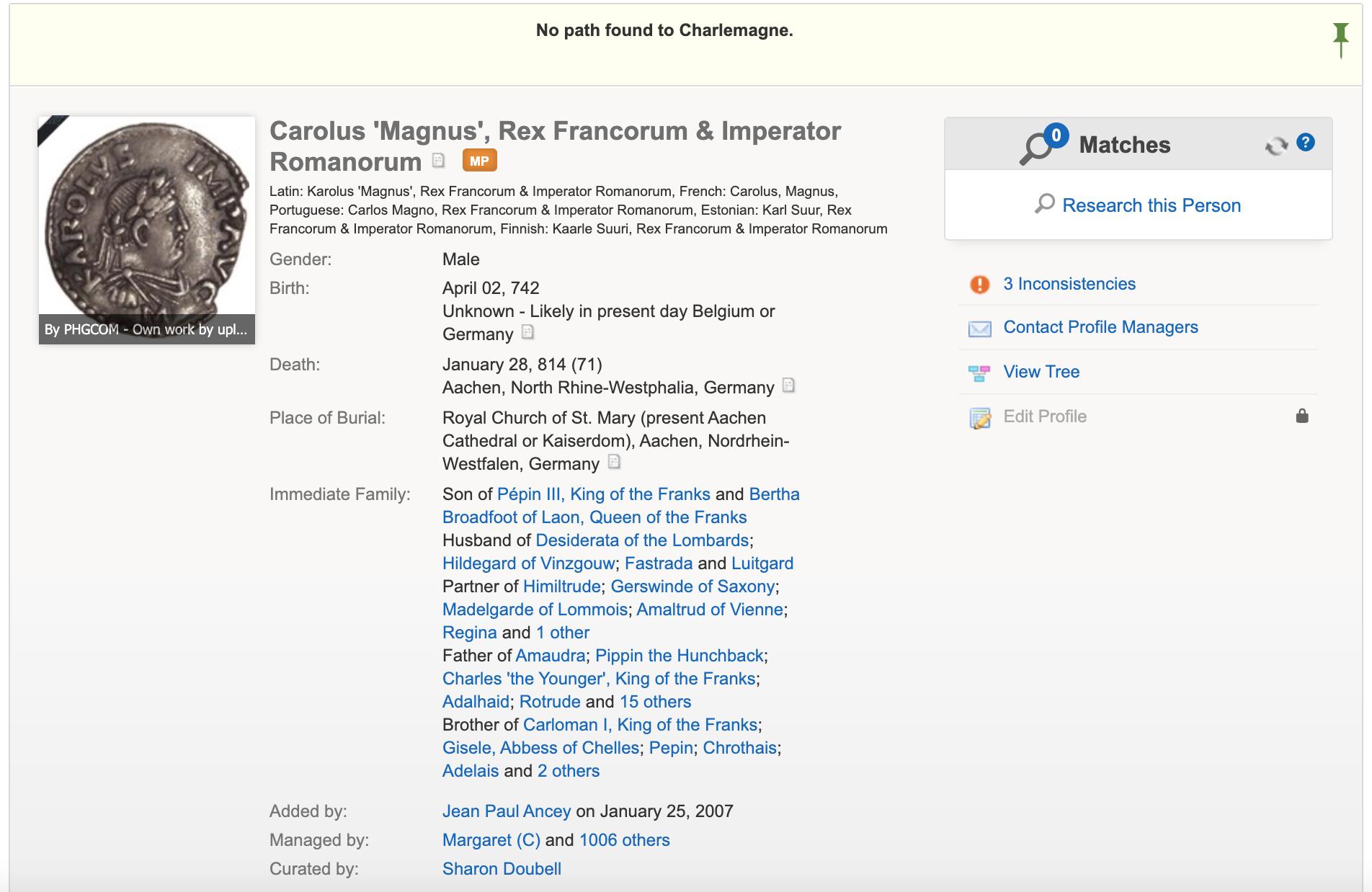 Charlemagne profile on Geni.com