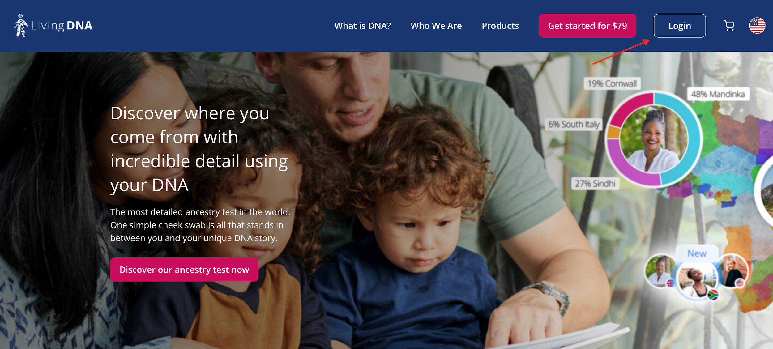Living DNA login button