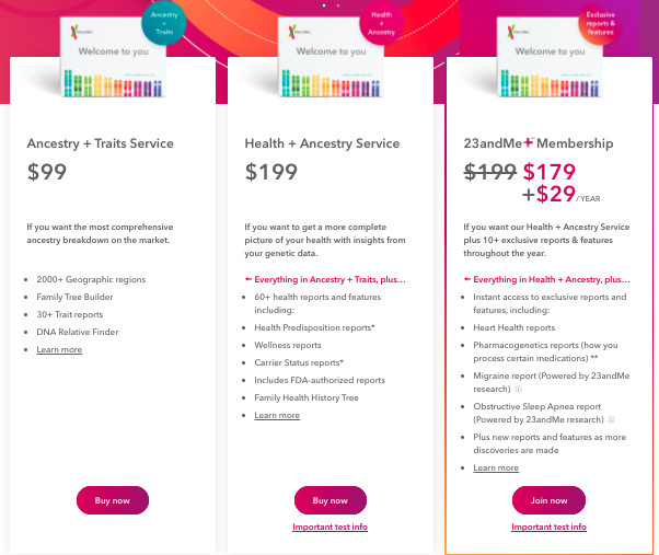 How much is a DNA test from 23andMe