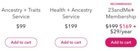 23andMe vs Helix prices